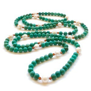 Natural Turquoise Fresh Water Pearls and Garnet Long Necklace Great Gatsby Style